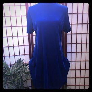 Retro blue velvet knee length dress size large